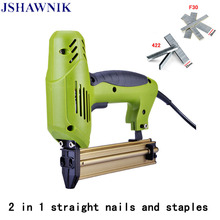 Free shipping 2 In 1 Framing Tacker Eletric Nails Staple Gun 220V Electric Power Tools Electric Stapler Gun With 400 Nails(China)
