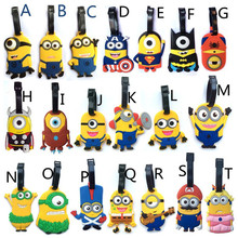 20pcs/lot Travel Accessories Luggage Tag Cute Cartoon Silica Gel Minions Despicable Me Suitcase Baggage Tags Portable Label 10cm