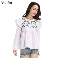Women sweet embroidery ruffles shirts long sleeve white blouse back button ladies fashion streetwear tops blusas LT1595(China)