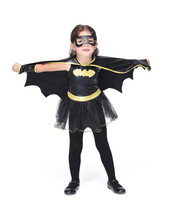 Kids Halloween Batman Costume Girls Batgirl Fantasia Fancy Dress With Cloak Mask for Scary Party Outfit superhero cosplay