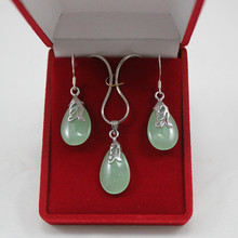 lady's light green waterdrop pendant & earrings jewelry sets for party(China)