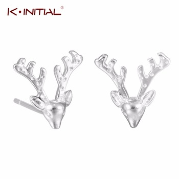 1pair Sunshine Fashion Jewelry Deer Antler Earrings Ear Clip 925 Sterling Silver Charm Stud Earrings For Women Gifts Bijoux