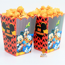 6pcs/lot Mickey Mouse Kids Party Supplies Popcorn Box case Gift Box Favor Accessory Birthday Party Supplies AW-0554