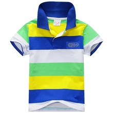 US Stock Summer Fashion Kids Baby Boys Cotton Striped T-shirt Multi Color Short Sleeve Top(China)