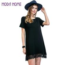2017 Women Lace Hem T Shirt Dress O Neck Short Sleeve Lolita Dress Scalloped Straight Casual Mini Shift Dress Black Vestidos