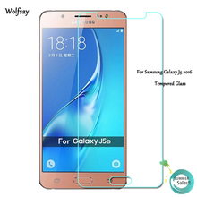 2pcs For Glass Samsung Galaxy J5 2016 Screen Protector Tempered Glass For Samsung Galaxy J5 2016 J510 Protective Film Wolfsay(China)