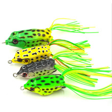 TEEWAY 1PC 5g Frog Lure Fishing Lures Treble Hooks Top water Ray Frog Artificial Minnow Crank Strong Artificial Soft Bait(China)