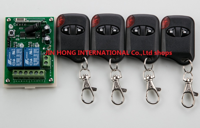DC12V 2CH Wireless Remote Control Switch System witch 1*Receiver + 4 *cat eye Transmitters for Appliances Gate Garage Door<br><br>Aliexpress