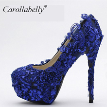 Wedding Shoes Blue High Heel Platform Pumps Rounded Toe Bride Prom Party Bridal Lace Wedding Pumps Blue Size34-39