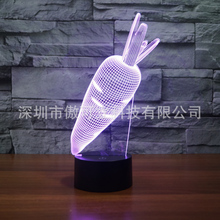 2017 hot sale carrots 3D LED light colorful visual touch Atmosphere gift USB boxed(China)