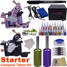 cheap beginner tattoo kits 2 guns make up permanent tatoo machine kit complete tattoo machine set(China)