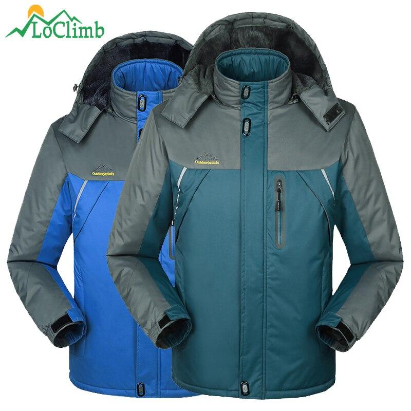 LoClimb M-9XL Plus Size Ski Jacket Men Winter Warm Outdoor Fleece Coat Camping Hiking Sport Windbreaker Waterproof Jackets,AM194<br>