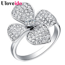 Cubic Zirconia Flower Costume Jewelry Rings for Women Bijoux Lovers' Gift Wedding Anniversary Engagement Ring Sale Uloveido J067