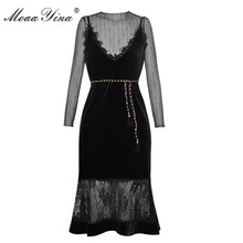 Buy MoaaYina 2018 Fashion Designer Velvet Dress Summer Women Long sleeve Meah Lace See Lace Spliced Sexy Fishtail Dress for $56.09 in AliExpress store