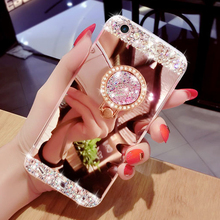Luxury Diamond Soft Silicone Mirror With 360 Ring Case Cover For iPhone 7 Plus 6 6S Plus For iPhone 5 5S SE 4 4s Case Cover