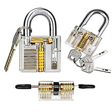 Free Shipping Practice Lock Set, Transparent Cutaway Crystal Pin Tumbler Keyed Padlock, for Locksmith Practice(China)