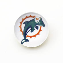 50pcs/lot Miami Dolphins NFL Team Snap Buttons Fit 18mm Sports Ginger Snap Jewelry Bracelets&Bangles