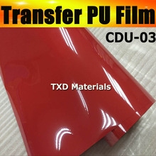 Red PU transfer film,heat transfer PU film by free shipping,transfer pu vinyl film with size:50CMX25M/ROLL CDU-03 RED COLOR