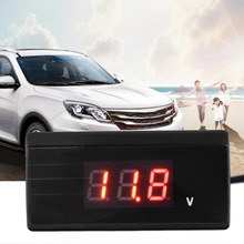 12V 24V Mini Auto Digital LED Voltmeter Car Voltage Gauge bettery tester with cigarette plug(China)