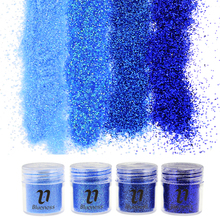 Nail Glitter Dust Acrylic Powder 4 Bottle/Set Blue Color Dust Gem Decorations Acrylic Glitter Powder 3D Nail Art Tips Hot Sale(China)