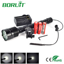 Boruit Powerful 6000Lm 3T6 Flashlight 5 Mode Tactical Lanterna LED Flash Light Torch+Battery+Charger+Remote Switch+Gun Mount