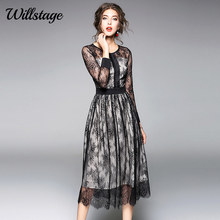 Buy Willstage 2018 Spring Black Lace Dress Mesh Hollow Sexy Patchwork Slim Elegant Party Mid Dresses Women Voile Vestidos Summer for $21.98 in AliExpress store