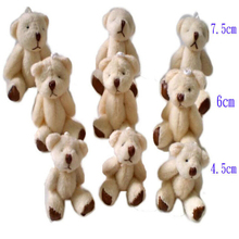 Wholesale 4.5CM Teddy Bear Mini Soft Plush Keychain Bear Bouquet Toy Children Christmas Decoration Gifts 100pcs J813