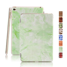 for ipad mini4 smart case colorful pattern magnetic wake up sleep green marble pu leather cover with pc protective shell