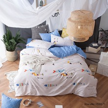 TUTUBIRD white and blue fish bedding set 100% cotton boy girls kids bed linen duvet cover home textile bedspread pillowcases