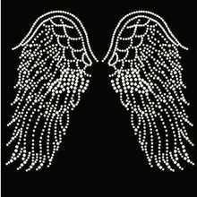 2pcs/lot angel's wing Rhinestones Heat Transfer Design Iron On Motifs rhinestone iron on transfers designs patch for shirt dress