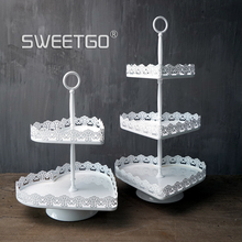 Heart shape 2 tiers cupcake stand dessert plate sweet table cake display decoration plate for wedding bakeware
