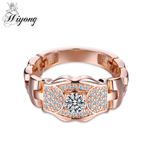 Watch Chain Band Rings for party Rose Gold-color Crystal Cubic Zircon Finger Ring High Quality Fashion Jewellery Free Shipping