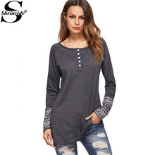 Sheinside Women Tops Womens Long Sleeve Tops Women T Shirt Dark Grey Contrast Tribal Print Cuff Button Front T-shirt(China)