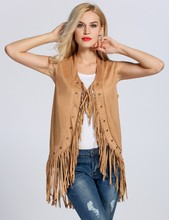 Fashion Spring Vest Women's Faux Suede Tassel Vest Casual Open Front Sleeveless Cardigan Khaki American Country Style Outerwear