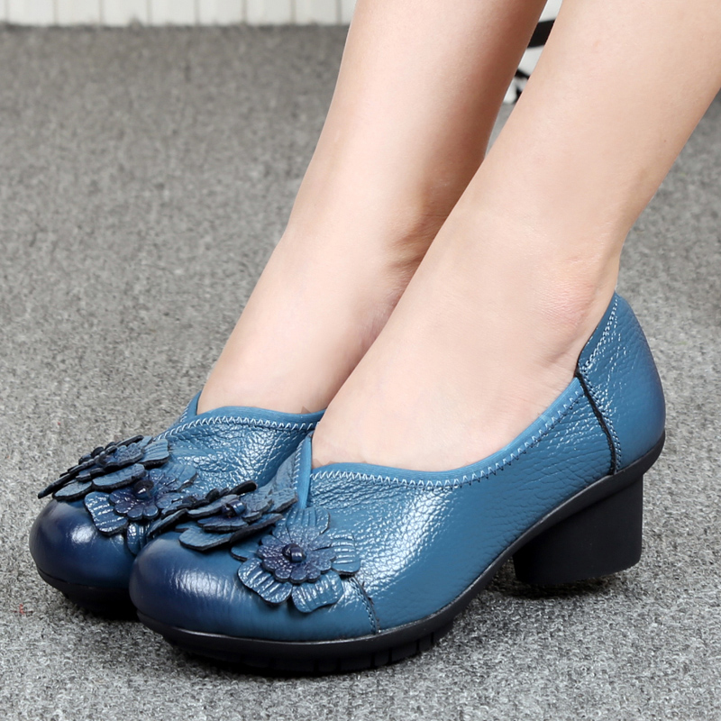 Work Shoes Female Crude Heel Genuine Leather Small Size High Heels Tacones Mujer Obuv Women Shoes Pump Big Size 41 42<br>