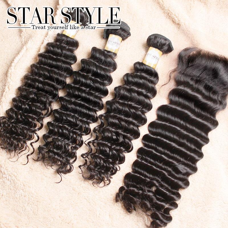 Beauty Virgin Curly Lace Closure Peruvian Hair 3pcs hair bundles with 1pc 4X4 for a full head  virgin hair Free Shippment<br><br>Aliexpress