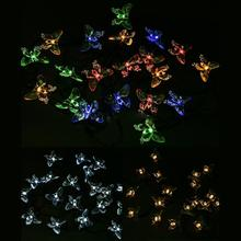 Waterproof Butterfly Style 20-LED Solar Christmas Garlands Garden Wedding Party Decoration Outdoor Lamp(China)