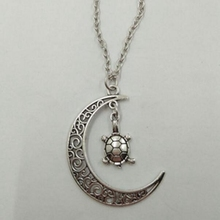 10pcs/lot Ancient Silver Hollow Moon And Turtle Owl Mermaid Leaves 10 Charm Pendant Chokers Necklace Women Jewelry Holiday Gift(China)