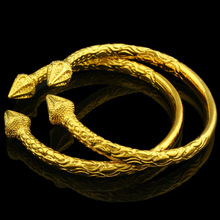 Wide 6MM Openable Gold Bangles for Women/Men Gold Color Bangle Bracelet Jewelry Ethiopian/African/Arab Gift