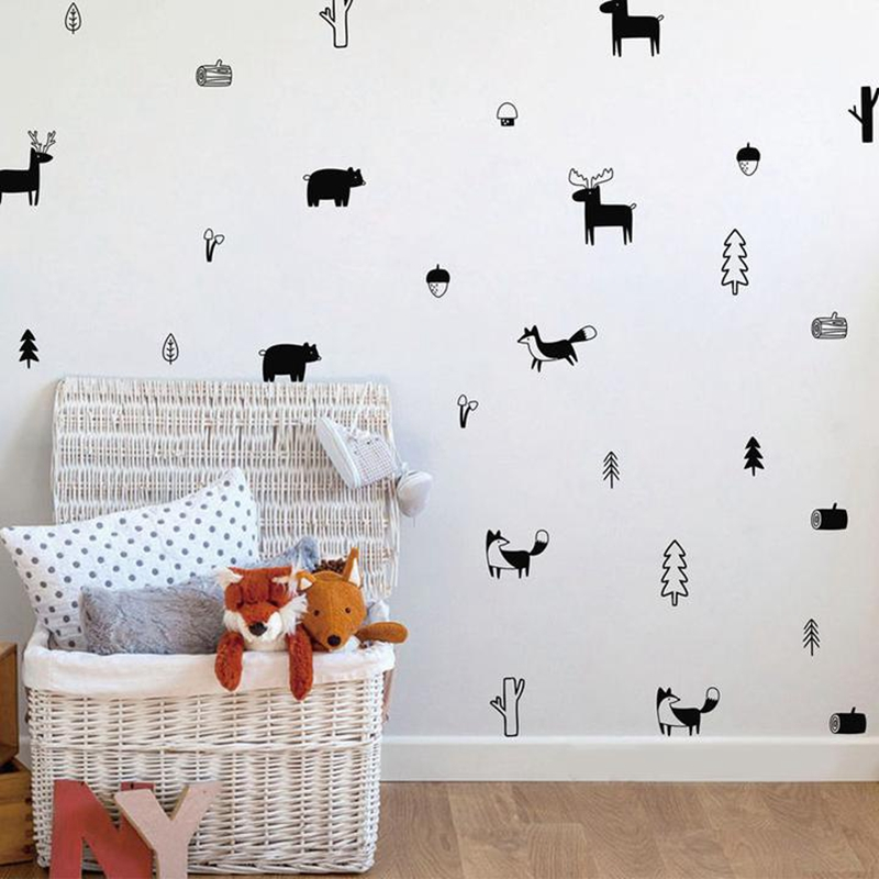 HTB1AvzXao6EK1JjSZFDq6AIqFXaV - Nordic Style Forest Animal Wall Decal For kids rooms