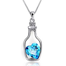 N712 Creative Women Fashion Necklace Ladies Popular Style Love Drift Bottles Pendant Necklace Blue Heart Crystal Pendants Colar