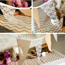 3M Vintage Chic burlap linen lace bunting flags pennant for party wedding garland decoration product supply Free Shipping