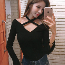 Buy Korean Sexy Shoulder Tops Women T-Shirt Womens Clothing 2018 Autumn Long Sleeve Black Tee Shirt Femme Camiseta Mujer for $13.59 in AliExpress store