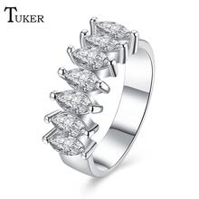 Tuker Design Inlaid Seven drill 2 claws  Elegant Wedding Rings For Women Exquisite Bridal Engagement Finger Ring