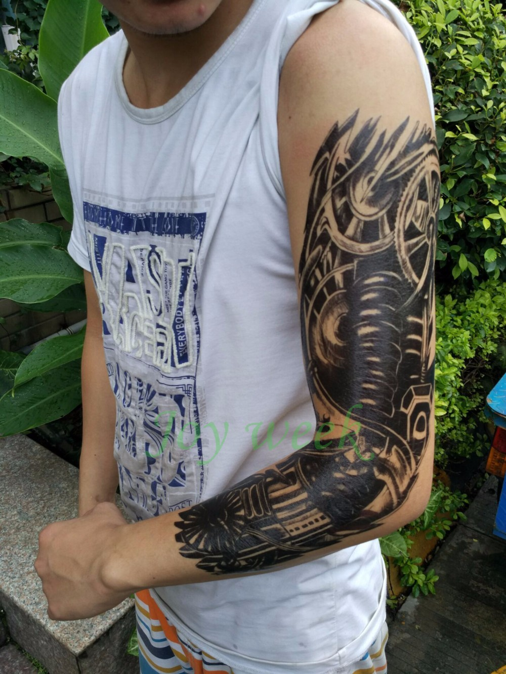 Waterproof Temporary Tattoo Sticker full arm large size robot arm tatto flash tatoo fake tattoos sleeve for men women 19 1