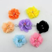 50pcs mixed colors Petite Chiffon Pearl Flower for diy Headband Photo Prop - Perfect for Newborn Baby - Little Girls Hair Bow