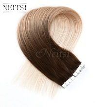 "Neitsi Mini Tape In Remy Hair Skin Weft Human Hair 20"" T8/27/60# Straight Ombre 100% Indian Virgin Human Hair Pieces Extensions"