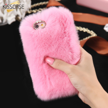 KISSCASE Real Rabbit Fur Case For iPhone 6 6s 7 Case iPhone 7 6s Plus 5S SE Luxury Cute Diamond Cover Cat Case For iPhone 7 Capa