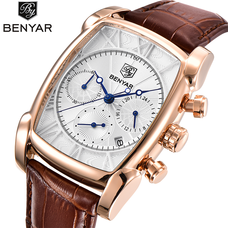 Luxury Brand BENYAR Rectangle Case Quartz Watch Fashion Sport Chronograph Mens Watches Genuine Leather Waterproof Wrisr watches<br>