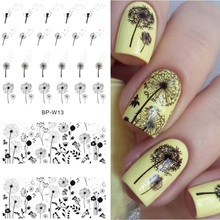 BORN PRETTY 2 Patterns Flying Dandelion Nail Art Water Decals Transfer Sticker Manicure Nail Decoration BP-W13